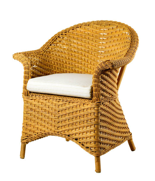 Wicker chair isolated on white background. Clipping path. stock photo