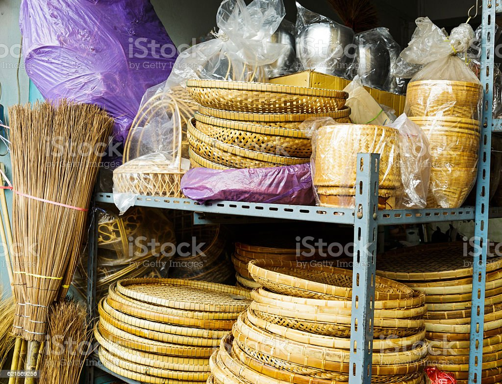 Wicker handmade wooden basket for sale photo libre de droits