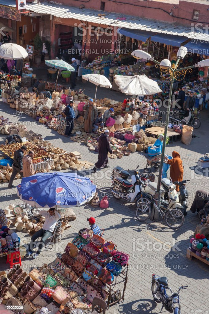 Wicker market in Marrakech, Morocco royalty-free stock photo