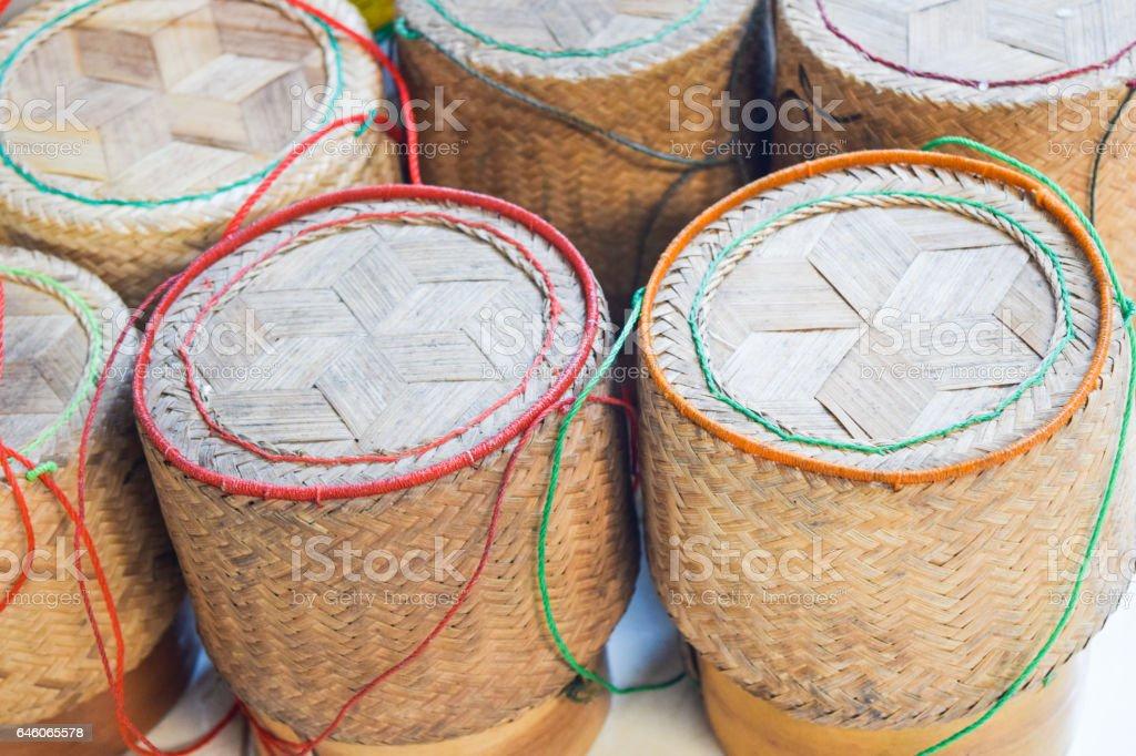 Wicker on rice (Kratip rice), Thai traditional rice box stock photo