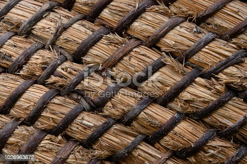Wicker or rattan basket texture. Basket for straw. High-resolution seamless texture. Horizontal photo.