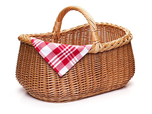 Wicker picnic basket with red checked napkin. Wicker picnic basket with red checked napkin, isolated on the white background. wicker stock pictures, royalty-free photos & images