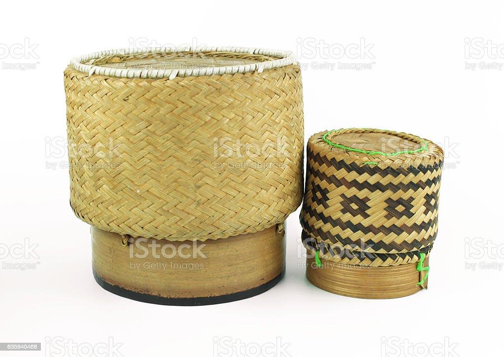 Wicker rice or Kratip or sticky rice stock photo