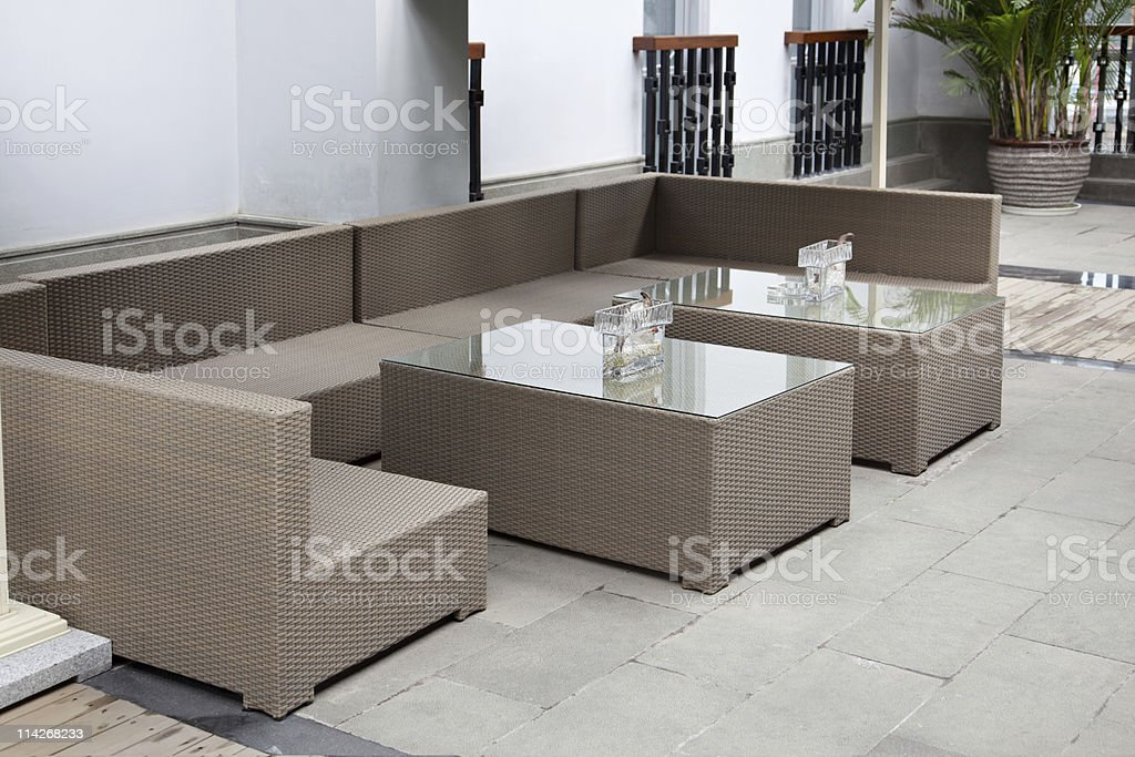 Wicker sofa set stock photo