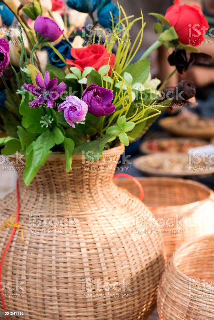 Wickerwork basket. royalty-free stock photo