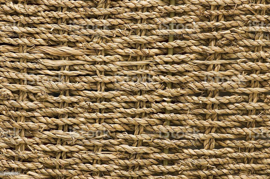 wickerwork trug - straw muslin royalty-free stock photo