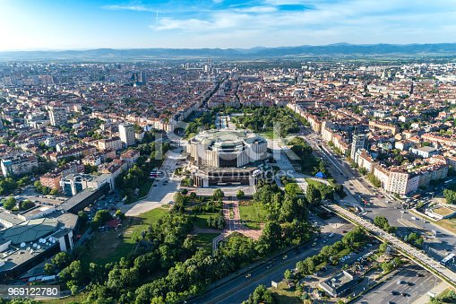 Wide aerial drone shot of national palace of culture in Sofia city downtown district. The picture was taken near sunset with DJI Phantom 4 Pro drone / quadcopter.