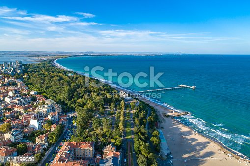 Wide aerial drone view over the sea garden in Burgas, Bulgaria. The scene is situated outdoors near sunset in Burgas, Bulgaria on the Black Sea shores. The photo is taken with DJI Phantom 4 Pro drone.