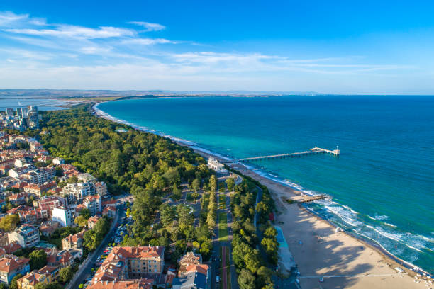 Wide aerial drone view over the sea garden in Burgas, Bulgaria Wide aerial drone view over the sea garden in Burgas, Bulgaria. The scene is situated outdoors near sunset in Burgas, Bulgaria on the Black Sea shores. The photo is taken with DJI Phantom 4 Pro drone. bulgaria stock pictures, royalty-free photos & images