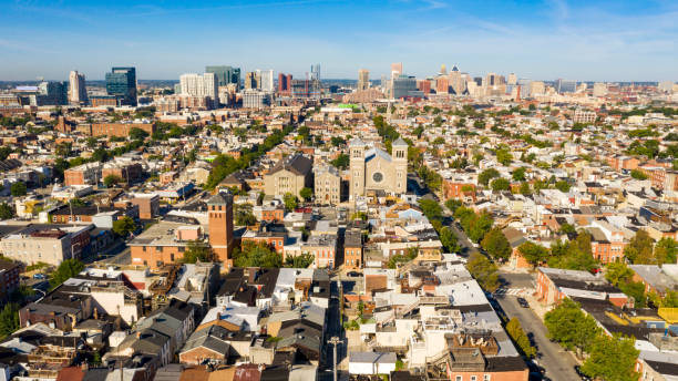 Wide Aerial Perspective over Streets and Neighborhoods of Baltimore Maryland stock photo