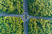 Wide aerial view looking down on traffic circle in the middle of a beautiful forest