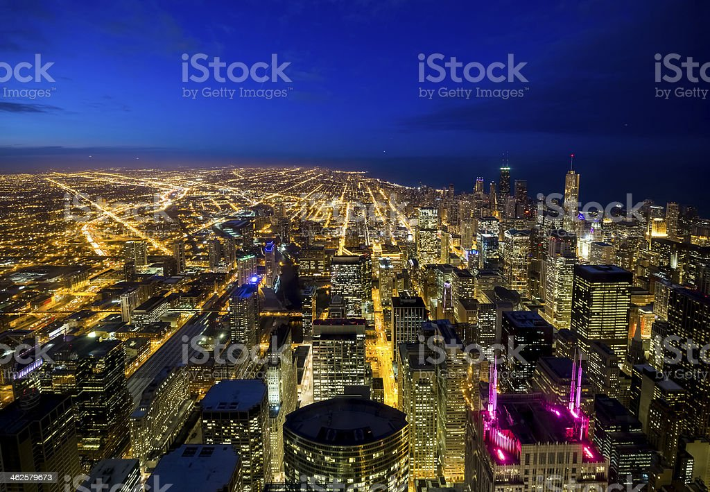 Wide Aerial View of Chicago at Twilight royalty-free stock photo