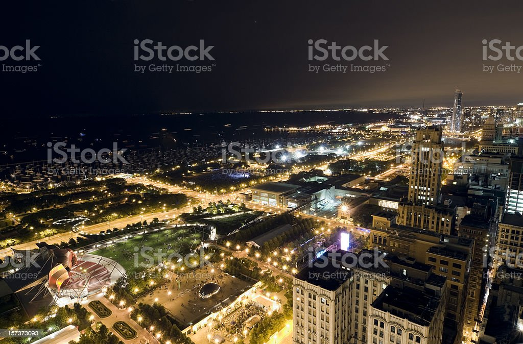 Wide Aerial View of Chicago Lakefront at Night stock photo