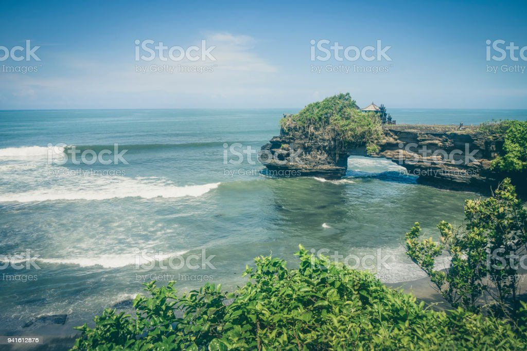 Wide Agnle View Of Tanah Lot Temple Bali Island Indonesia Stock