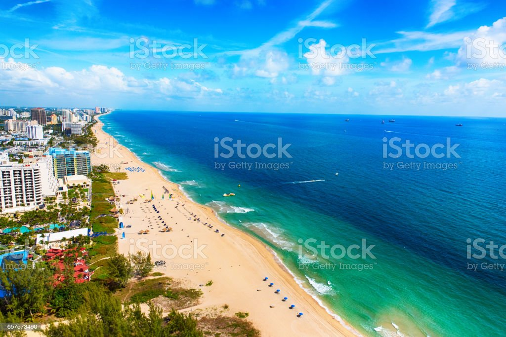 Wide Angle Aerial of Fort Lauderdale Beach stock photo
