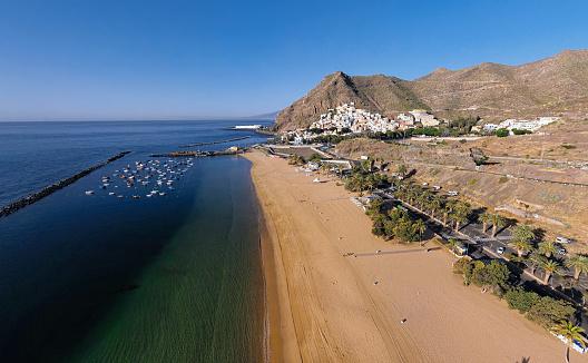 Aerial of Playa de Las Teresitas beach, Tenerife