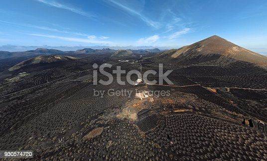 istock Wide angle aerial panorama of Wine valley of La Geria, Lanzarote, Canary islands, Spain 930574720