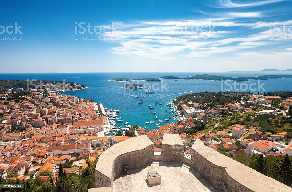 Wide angle aerial view of Hvar city stock photo