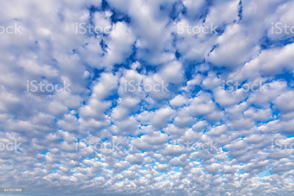 Wide Angle Altocumulus Clouds stock photo