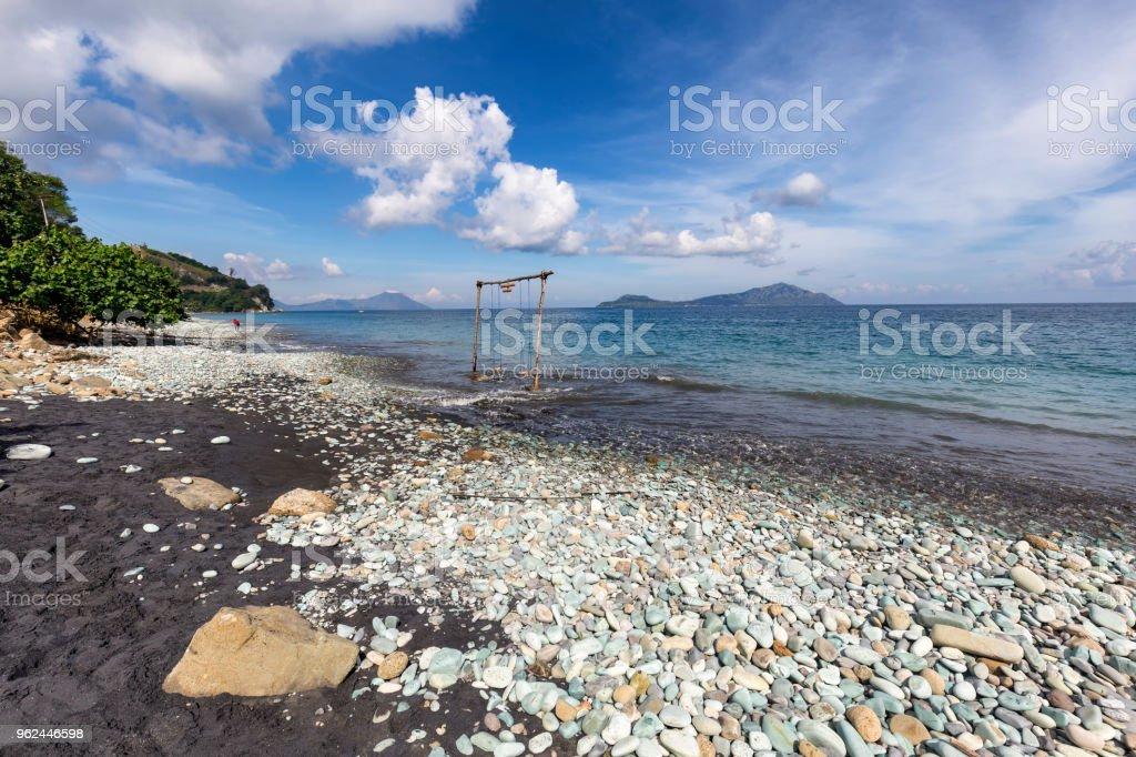 Wide angle Blue Stone Beach stock photo