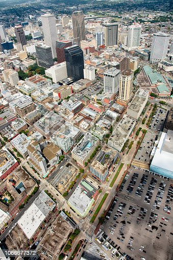 The downtown area of New Orleans, Louisiana shot from an altitude of about 1000 feet during a helicopter photo flight.