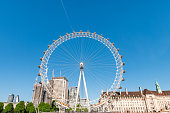 London, UK - June 22, 2018: Wide angle cityscape view on London Eye wheel on summer day with blue clear sky and capsules on Cantilevered structure
