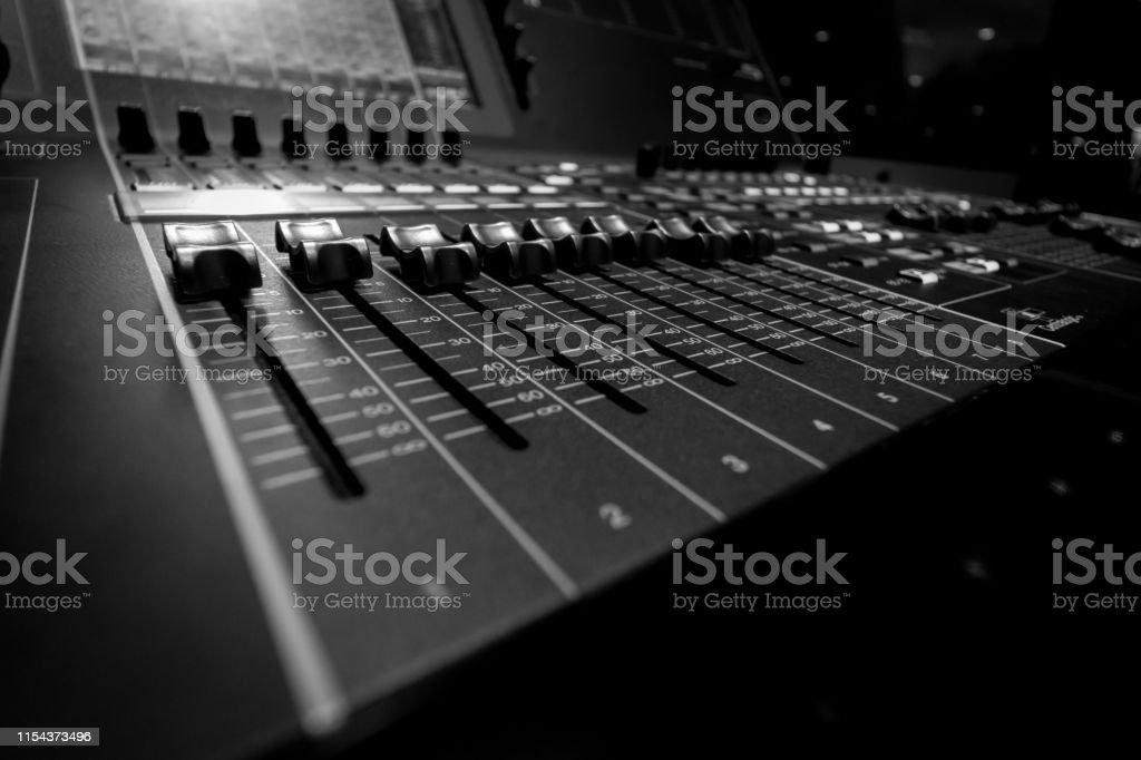 Wide angle closeup of Professional Audio Digital Sound Mixing Control...