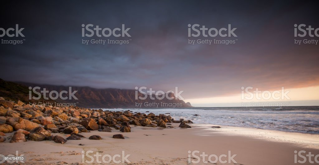 Wide angle landscape image of Kogelbay in the Overberg of south africa stock photo