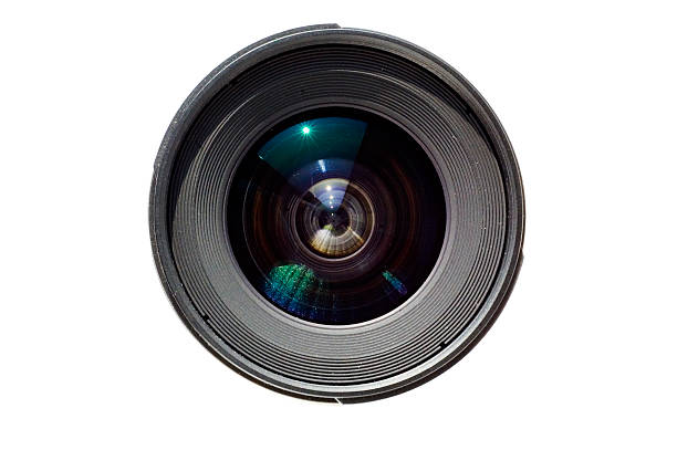 wide angle lens isolated on white background - aperture stock pictures, royalty-free photos & images