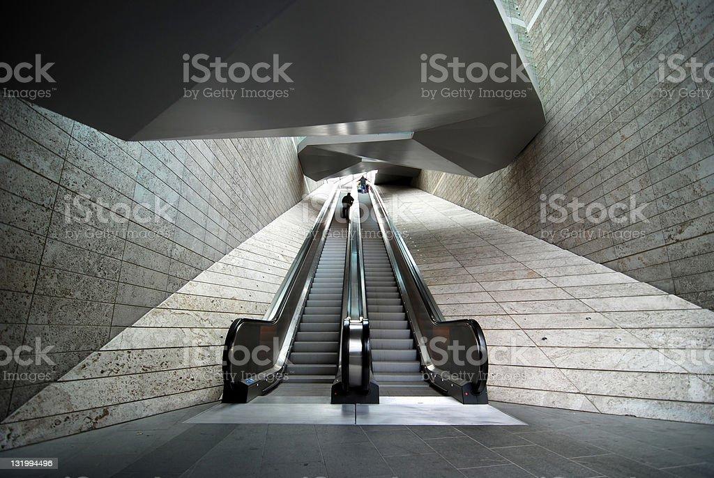Wide angle modern architecture escalator royalty-free stock photo
