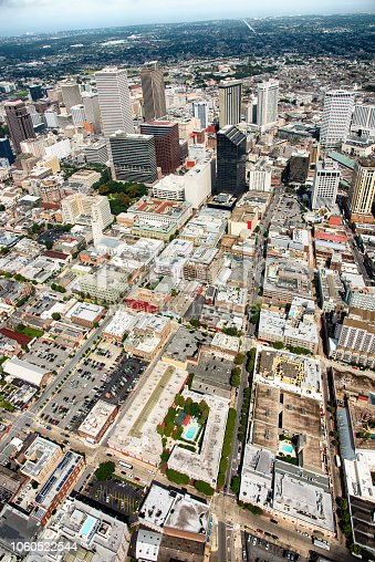 A vertically oriented wide angle view of the downtown and surrounding areas of New Orleans, Louisiana from an altitude of about 1200 feet during a helicopter photo flight.
