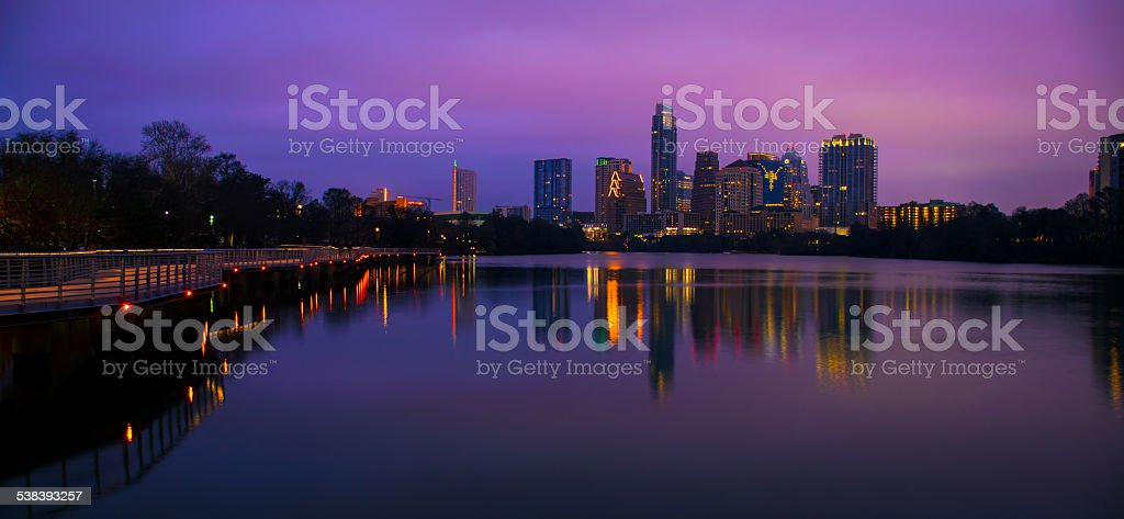 Wide Angle Night Time Austin Skyline Before Sunrise Reflections stock photo
