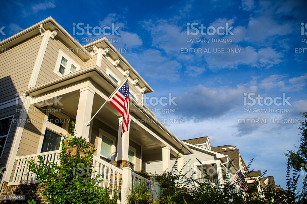 Wide Angle of a Front Porch with an American Flag stock photo