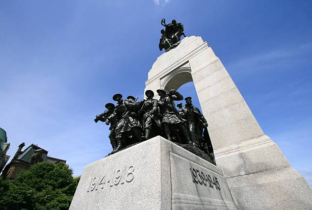 wide angle of national war memorial - war memorial stock pictures, royalty-free photos & images