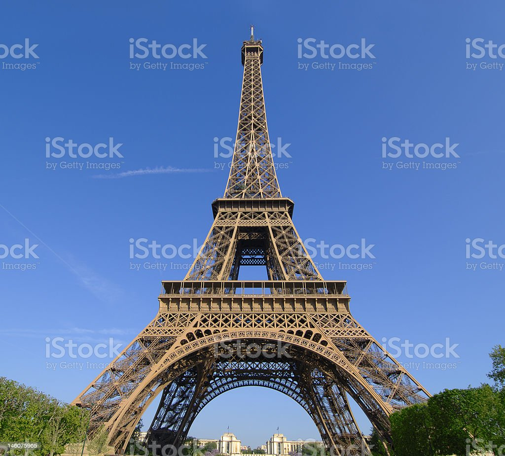Wide angle on the Eiffel Tower stock photo