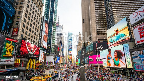 981808424 istock photo Wide angle on Times Square, New York City 1199711757