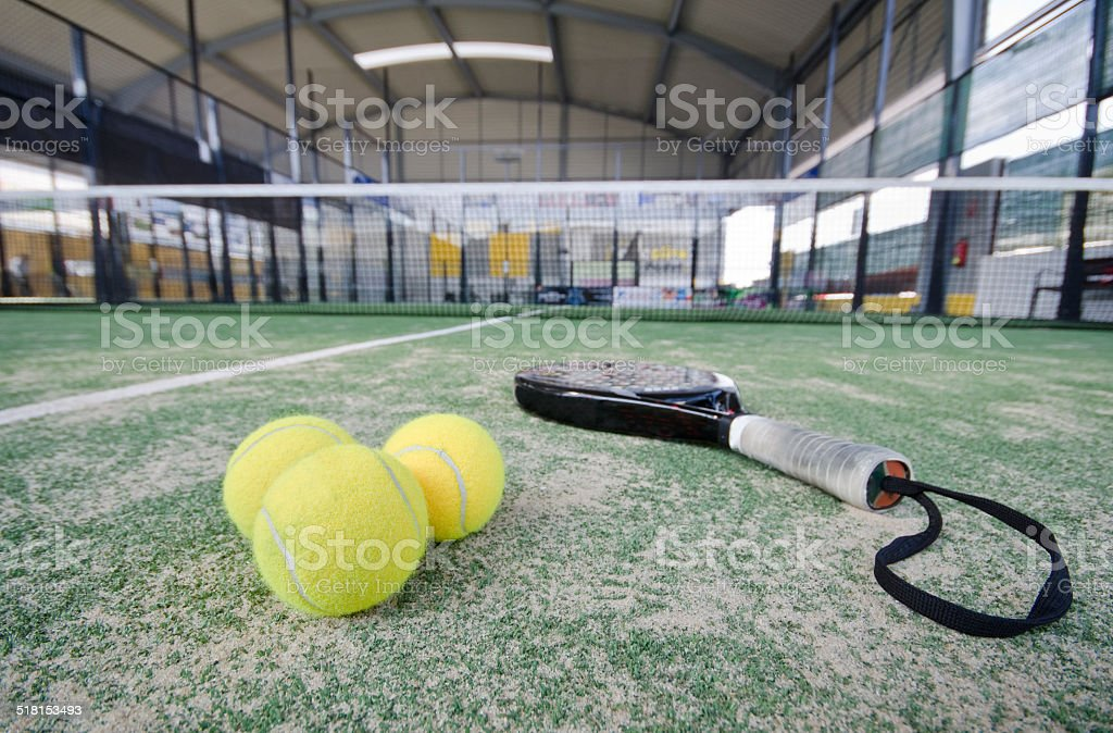 Wide angle paddle tennis objects stock photo