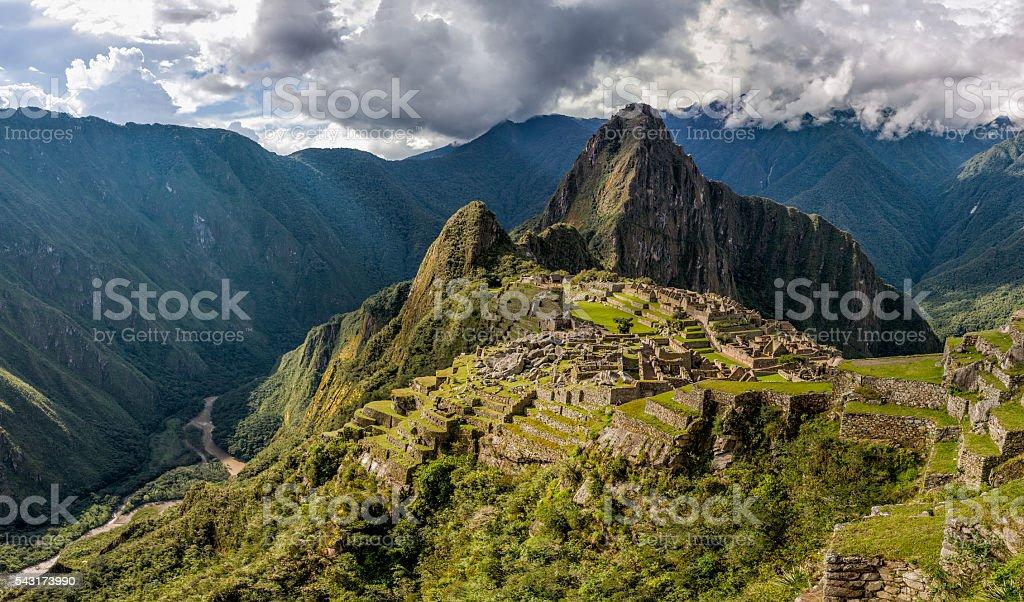 Wide angle panorama of Machu Picchu stock photo