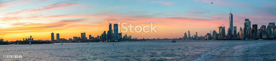 Wide Angle Panorama Of New Jersey and Manhattan During SunSet