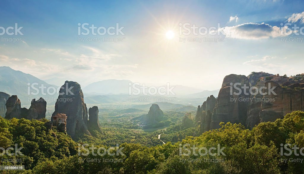 Wide angle panoramic view of Meteora mountains stock photo