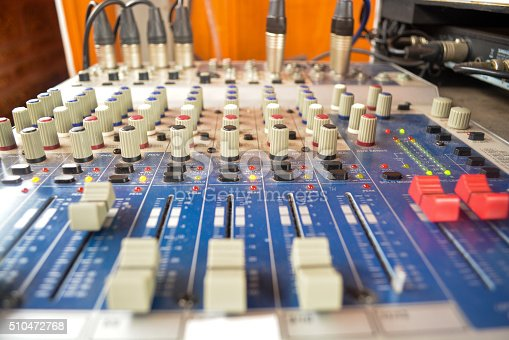 istock Wide angle photo of black sound mixer controller 510472768