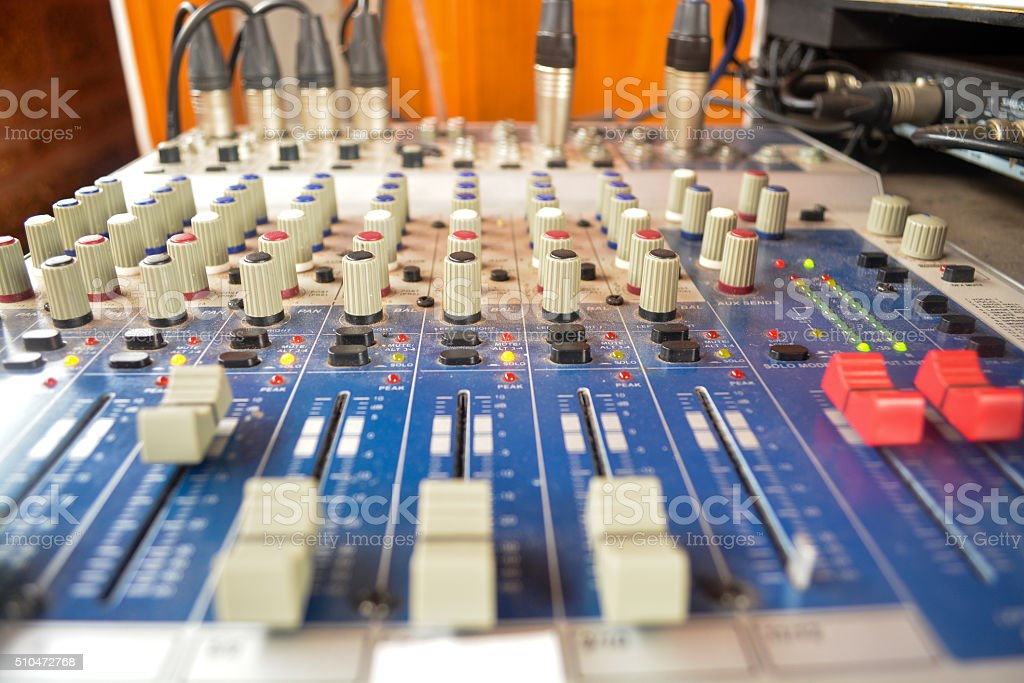 Wide angle photo of black sound mixer controller stock photo