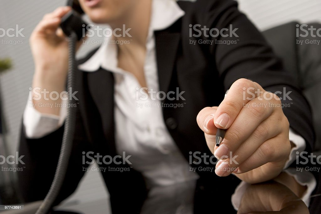Wide angle photo of businesswoman on the phone royalty-free stock photo