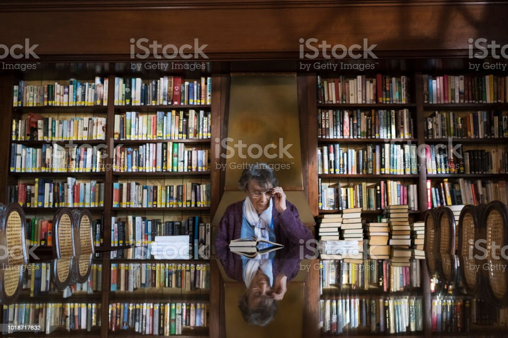 Wide angle portrait of a senior woman sitting at a table reading a book at a library stock photo