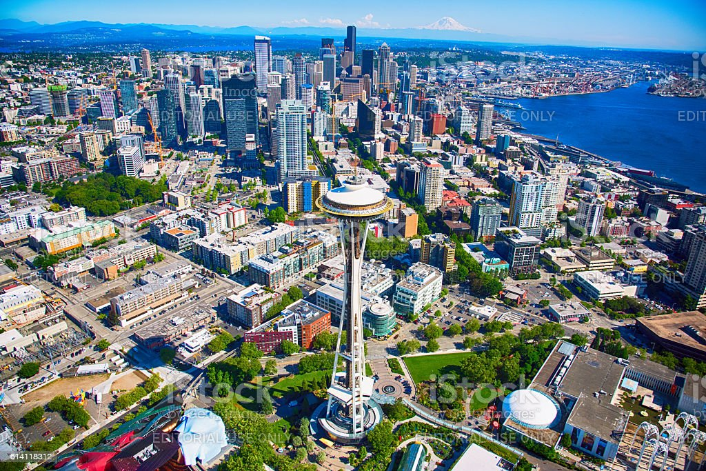 Wide Angle Seattle Cityscape Aerial stock photo
