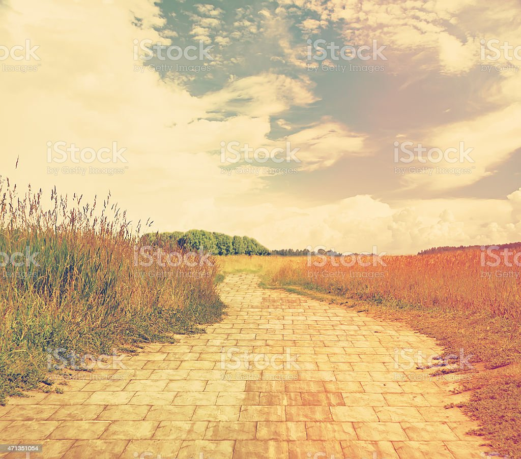 Wide angle shot of a bricked road and fields stock photo