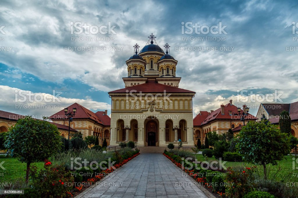 Wide angle shot of an Orthodox cathedral in the ancient village of Alba Iulia, Romania stock photo