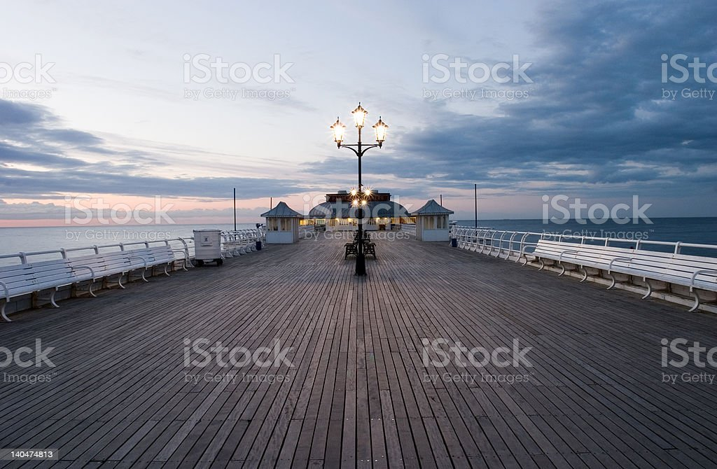Wide angle shot of Cromer Pier. stock photo