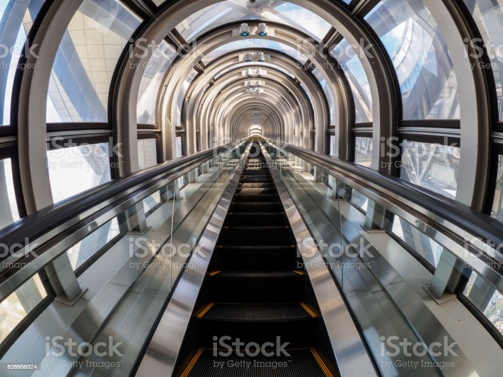 Wide angle shot of escalator in Umeda Sky Building stock photo