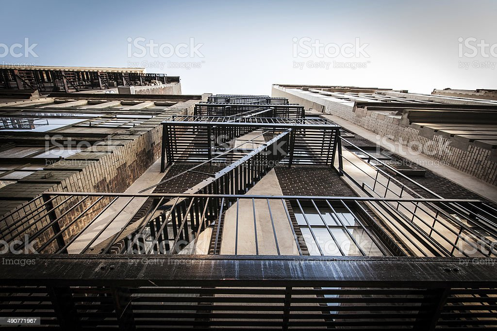 Wide angle shot of fire escape, New York City stock photo